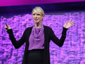 Amy Cuddy speaks onstage during Cosmopolitan Magazine's Fun Fearless Life Conference powered by WME Live at The David Koch Theatre at Lincoln Center on Nov. 8, 2014 in New York City.