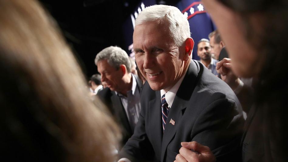 Republican vice presidential nominee Mike Pence attends the Presidential Debate at Hofstra University on Sept. 26 in Hempstead, N.Y. (Win McNamee/Getty Images)