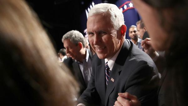 Republican vice presidential nominee Mike Pence attends the Presidential Debate at Hofstra University on Sept. 26 in Hempstead, N.Y.