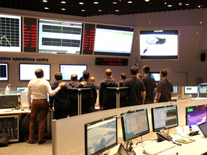 The main control room the European Space Operation Center (ESOC) in Darmstadt, Germany, is pictured on Friday during the controlled descent of the European Space Agency (ESA) space probe Rosetta onto the surface of Comet 67P/Churyumov-Gerasimenko.