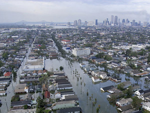 Flood waters from Hurricane Katrina cover streets on Aug. 30, 2005 in New Orleans, La.