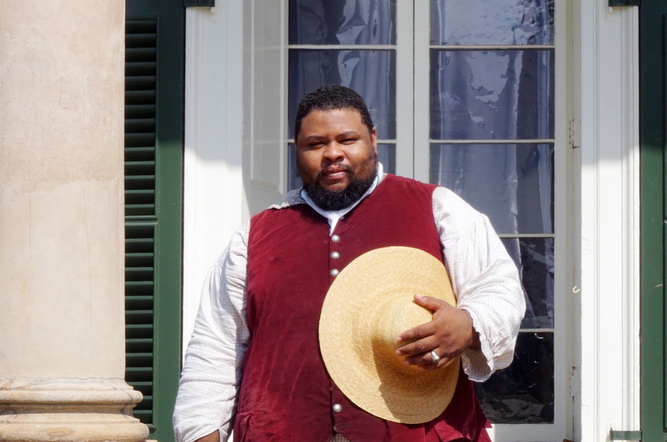 Michael Twitty wants credit given to the enslaved African-Americans who were part of Southern cuisine's creation. Here he is in period costume at Monticello, Thomas Jefferson's Virginia estate. (Erika Beras for NPR)
