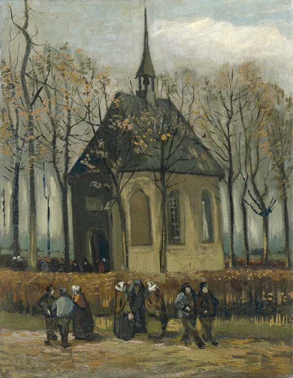 Van Gogh's Congregation Leaving the Reformed Church in Nuenen, 1884-1885, was one of two paintings recovered by Italian anti-mafia police, the Van Gogh Museum announced Friday.