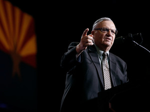 Maricopa County Sheriff Joe Arpaio campaigns for Donald Trump Aug. 31 in Phoenix.