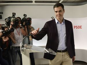 Spanish Socialist Party (PSOE) leader Pedro Sanchez resigned Saturday at his party's headquarters in Madrid.