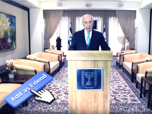 Shimon Peres, former President of Israel, appears in a 2012 dance music video promoting his Facebook page.