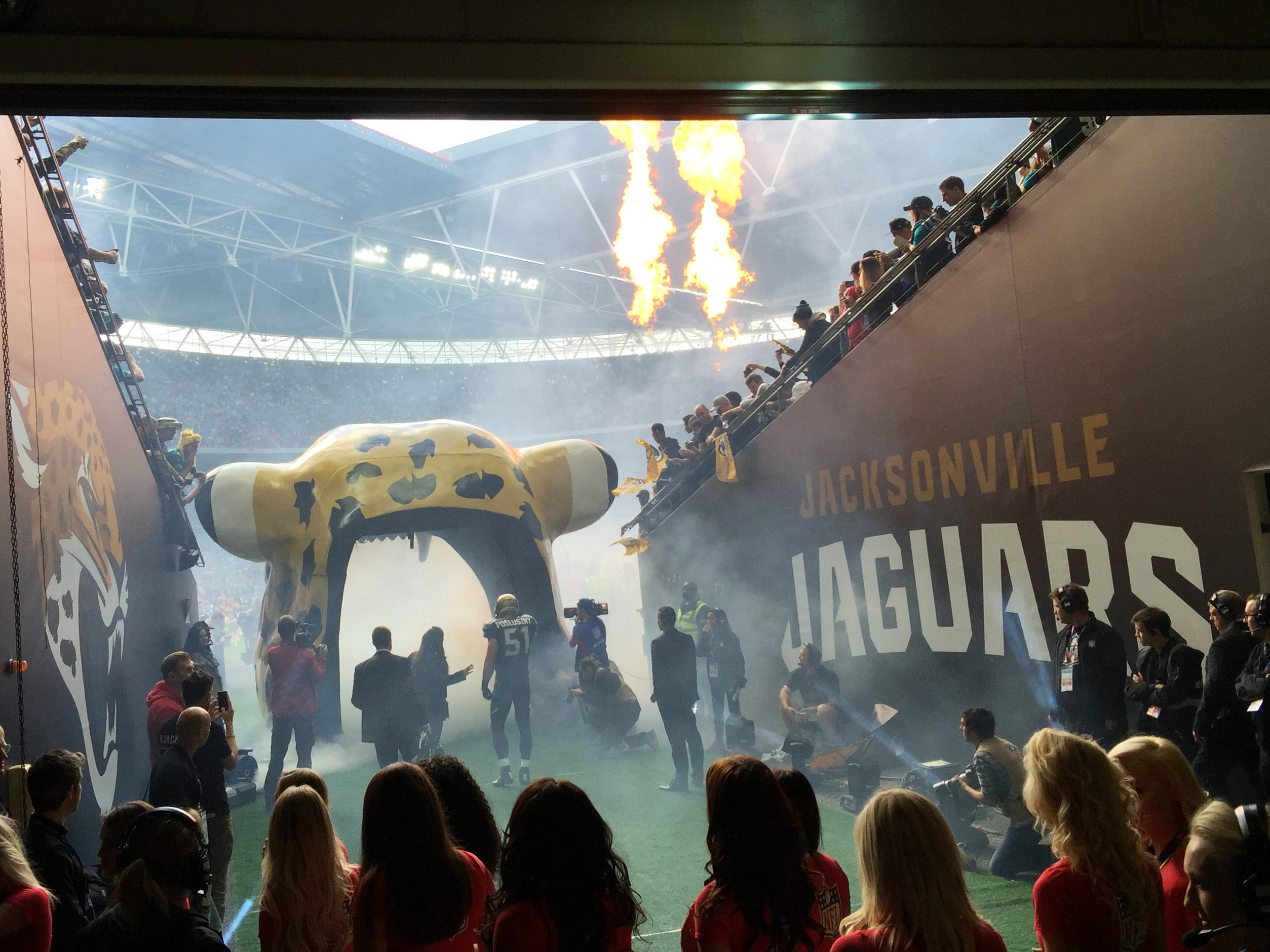 The Jacksonville Jaguars' middle linebacker, Paul Posluszny, enters Wembley Stadium as a crowd of nearly 84,000 cheers. The Jaguars are the closest thing to a hometown American football team in London. Frank Langfitt/NPR