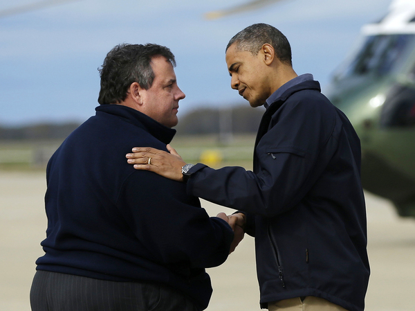 President Obama, greeted by New Jersey Gov. Chris Christie upon his arrival at Atlantic City International Airport, Oct. 31, 2012. Obama was there to survey the aftermath of Superstorm Sandy.