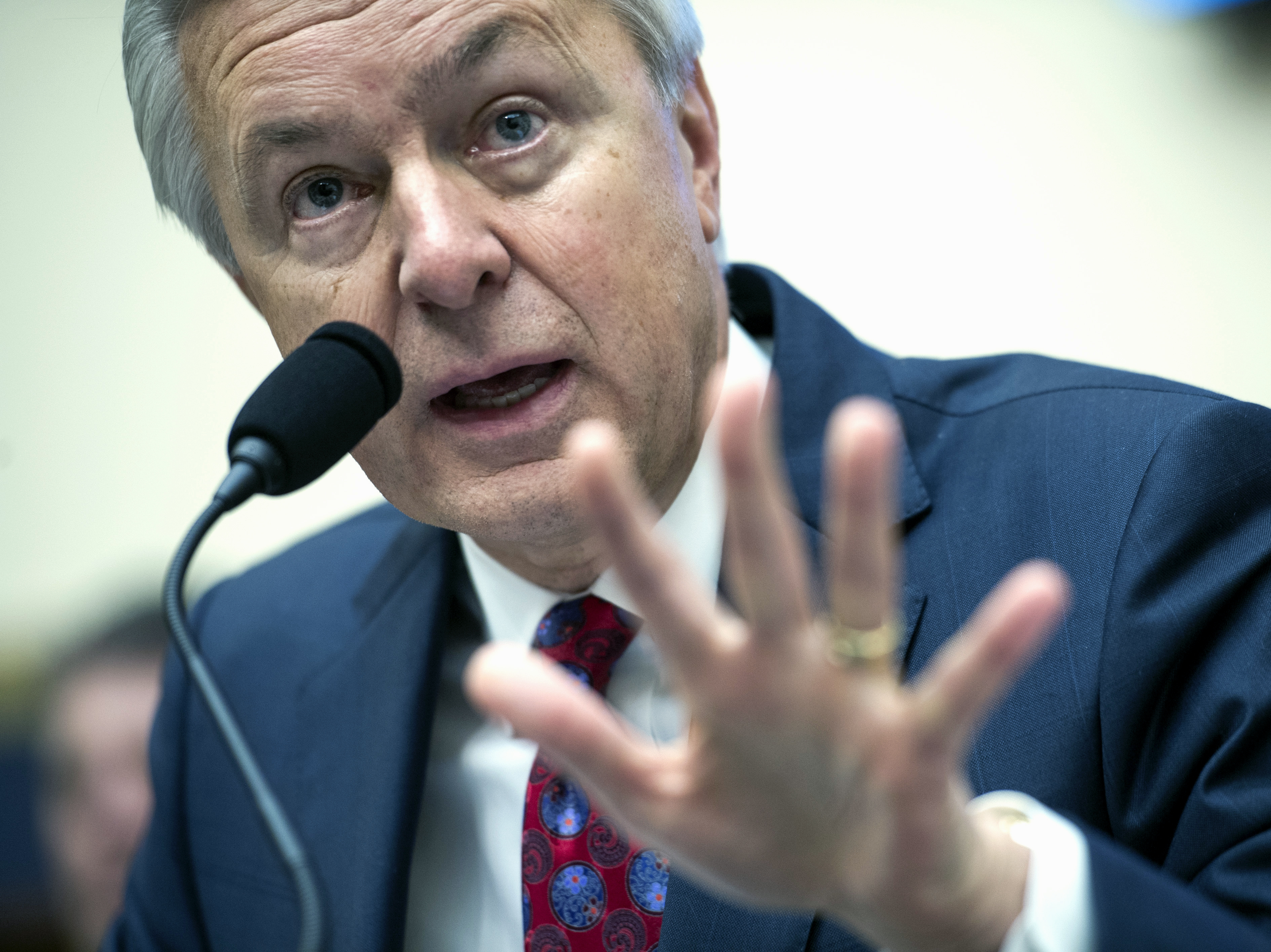 Wells Fargo CEO John Stumpf testifies on Capitol Hill in Washington on Sept. 29 before the House Financial Services Committee investigating Wells Fargo's opening of unauthorized customer accounts. Cliff Owen/AP.