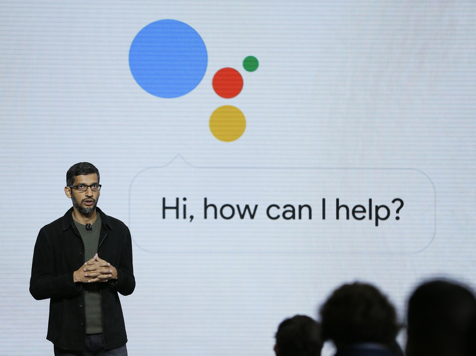 Google CEO Sundar Pichai talks about the Google Assistant, which will power the company's new line of smartphones and a voice-activated speaker. (Eric Risberg/AP)