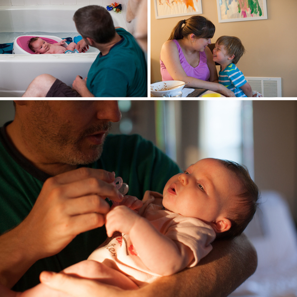 (Left) Olivia gets a bath every evening just before 7 p.m. (Right) Stephanie and Benjamin play after dinner. (Bottom) Mike wanted to stay home longer after Olivia was born.