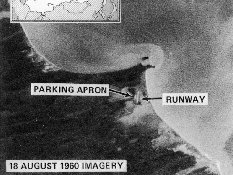 Some of the first images taken by CORONA captured Mys Shmidta airfield in Chukotka, Russia — an Arctic staging base for Soviet bomber flights. National Reconnaissance Office