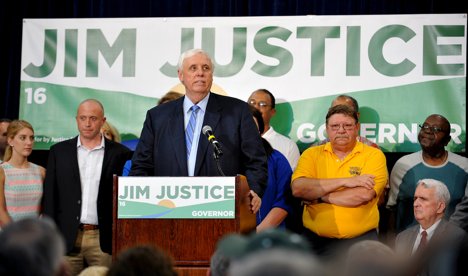 West Virginia billionaire businessman Jim Justice announced his run for governor of West Virginia as a Democrat in White Sulphur Springs, W.Va., on May 11, 2015. (Chris Tilley/AP)