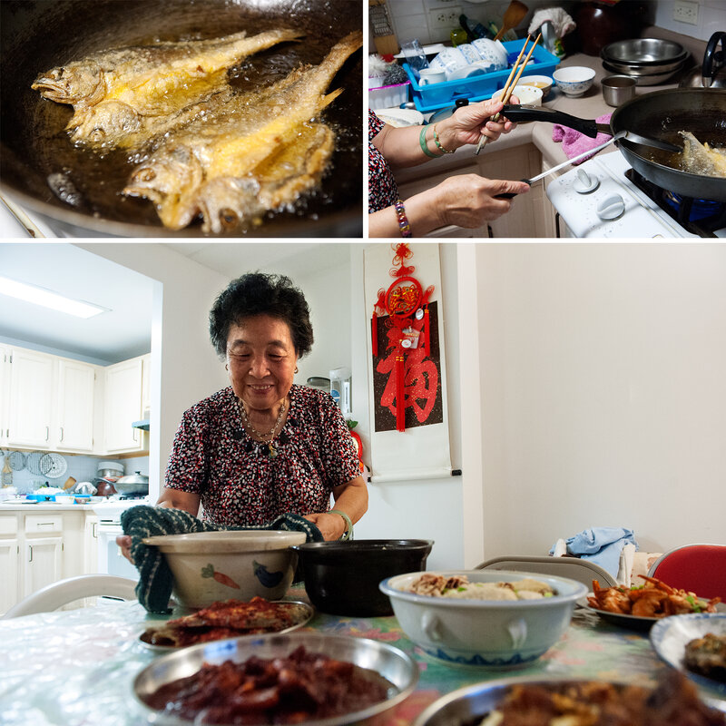 Ni prepares and serves deep-fried yellow croakers and chicken soup with Chinese yams. Seafood was a staple in Ni's hometown of Fuzhou, China. 'Rich families would eat fish balls and fish dumplings often,' she says. 'But our family was not well-off, so we only had those during special festivities like Lunar New Year.' Bryan Thomas for NPR.