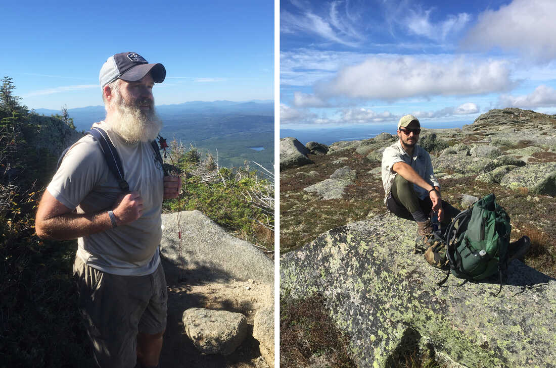 (Left) Cody Yates did 20 years in the U.S. Army and Marine Corps. Before he was even formally retired this spring he started hiking the Appalachian Trail. (Right) Joshua Bridger takes break near the end of the 2,100 mile Appalachian trail on Mount Katahdin in Maine.