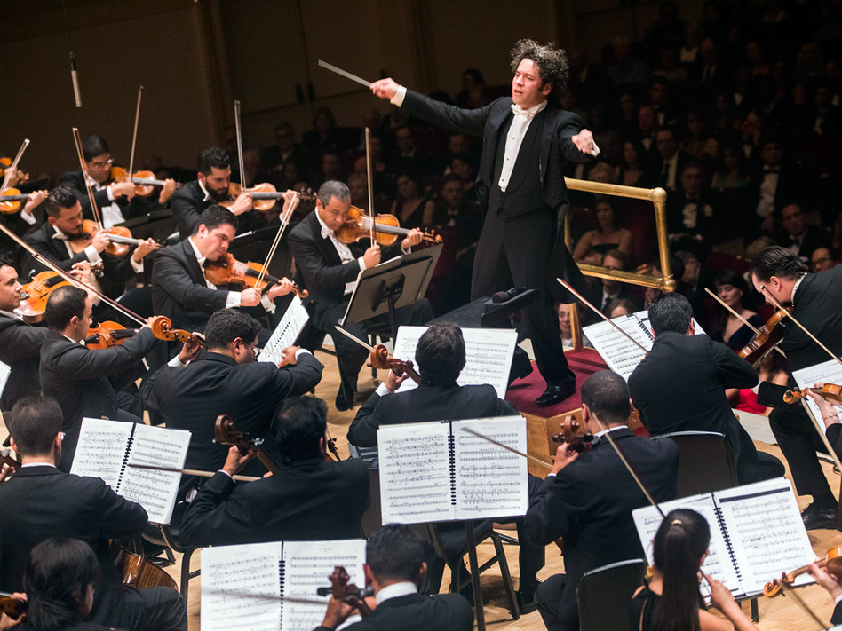 Gustavo Dudamel led the Simón Bolívar Symphony Orchestra to open the new season of concerts at Carnegie Hall Thursday, Oct. 6.