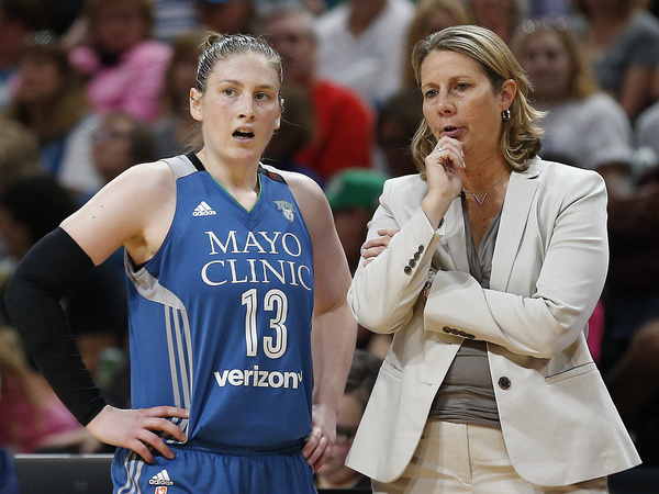 Minnesota Lynx guard Lindsay Whalen (13) talks with head coach Cheryl Reeve.