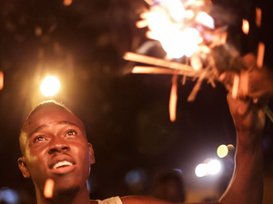 A man celebrates the annual Fire Festival in northern Ghana.