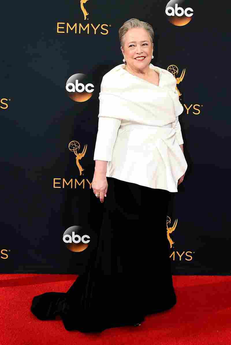 Actress Kathy Bates wears a Siriano design to this year's Emmy Awards.