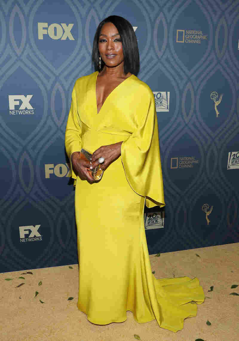 Actress Angela Bassett wears a Siriano dress to an Emmy afterparty in September.