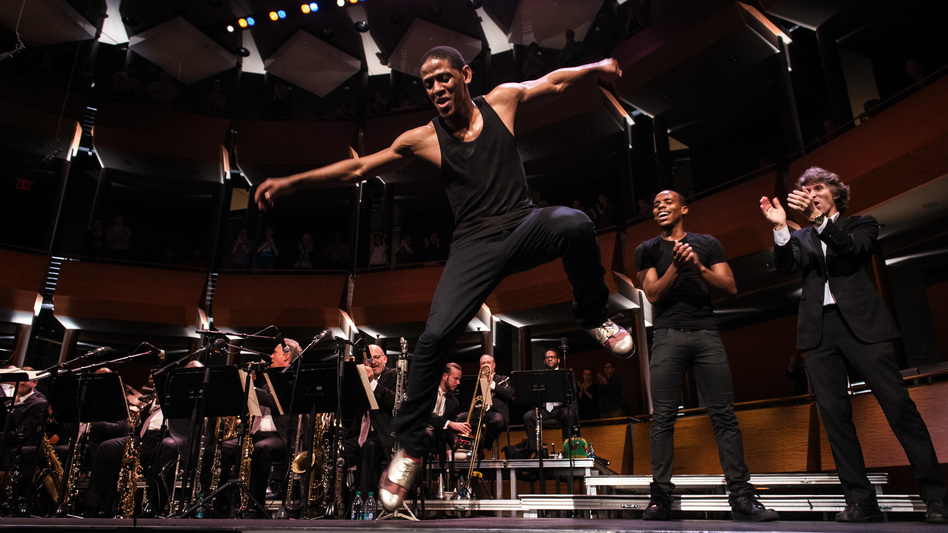 Jared Grimes performs a tap routine during Spaces at Jazz at Lincoln Center (NPR)