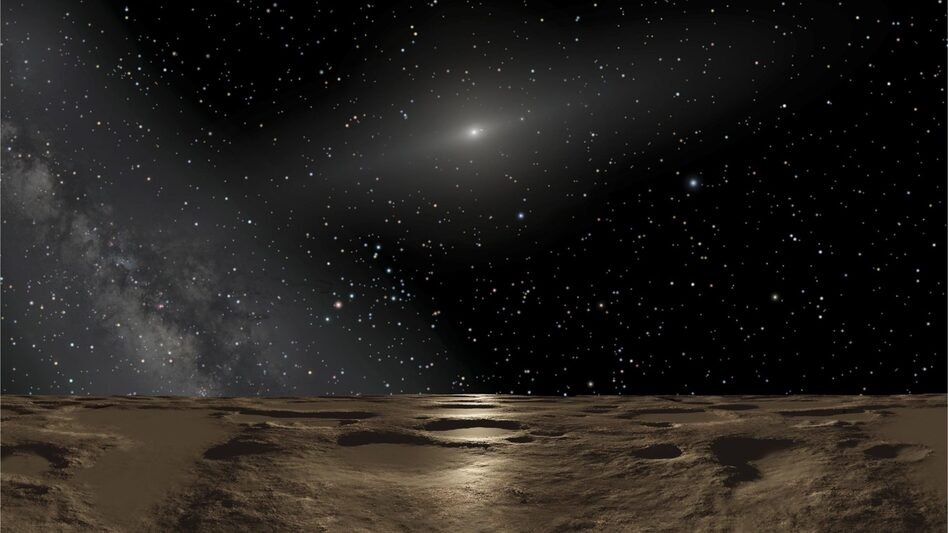 An artist's conception of the view from the dwarf planet Sedna. David Gerdes of the University of Michigan says the surface of 2014 UZ224 would look much the same. (NASA, ESA and Adolf Schaller)