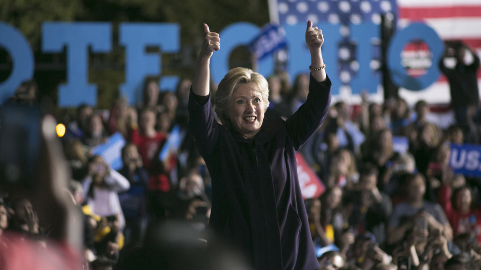 Hillary Clinton waves to the crowd after speaking at The Ohio State University on Monday. It was her largest crowd of the entire campaign. (Maddie McGarvey/Getty Images)