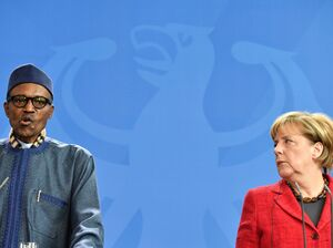 At a news conference with German Chancellor Angela Merkel, Nigeria's President Muhammadu Buhari answered criticisms from his wife.