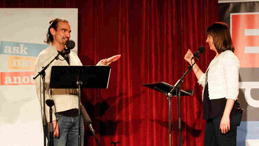 Javier Muñoz and host Ophira Eisenberg on Ask Me Another at The Bell House in Brooklyn, New York.