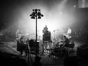 Bon Iver performs in Saal 1 at the Funkhaus in Berlin during an unnamed festival dedicated to collaboration and creation of new music.
