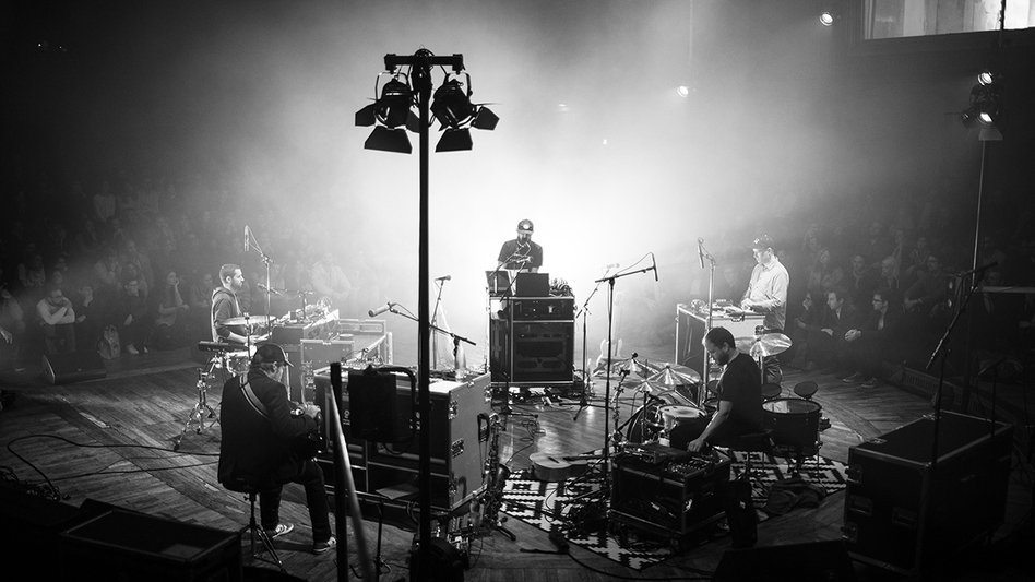 Bon Iver performs in Saal 1 at the Funkhaus in Berlin during an unnamed festival dedicated to collaboration and creation of new music. (Michelberger Hotel)