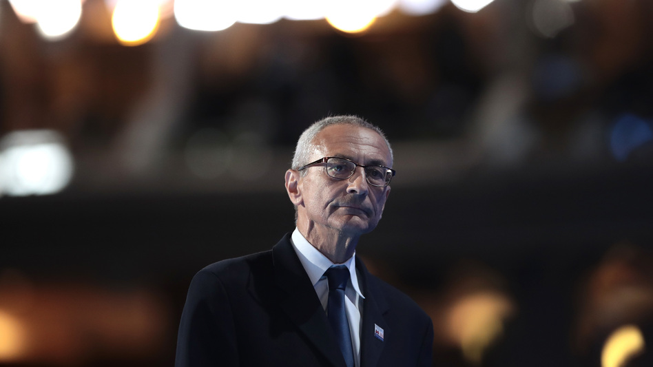 John Podesta walks off stage after delivering a speech on the first day of the Democratic National Convention July 25 in Philadelphia. (Drew Angerer/Getty Images)