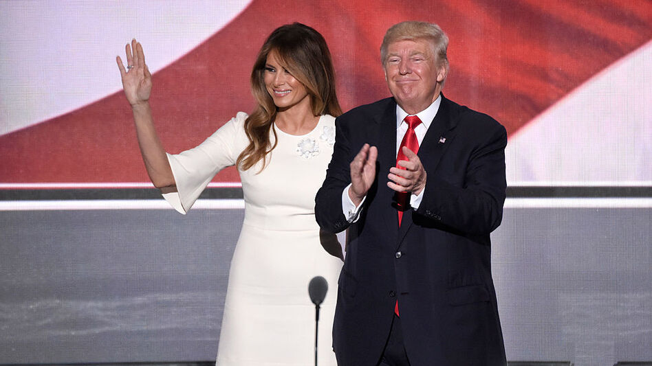 Melania Trump stands beside her husband, GOP presidential nominee Donald Trump, at the Republican National Convention in Cleveland in July. (Ida Mae Astute/ABC via Getty Images)