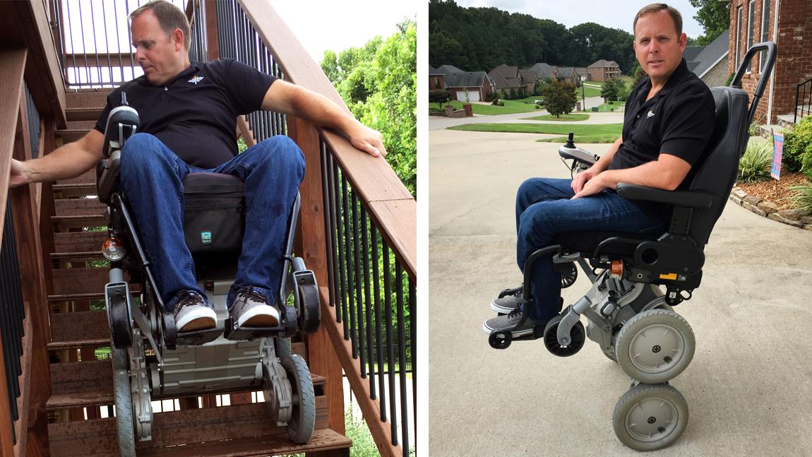 Paraplegic woman climbing stairs 7