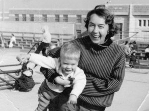 Mark Slouka and his mother, Olga, in Jones Beach, NY.
