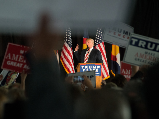 Republican presidential candidate Donald Trump speaks at a rally Tuesday in Colorado Springs, Colo.