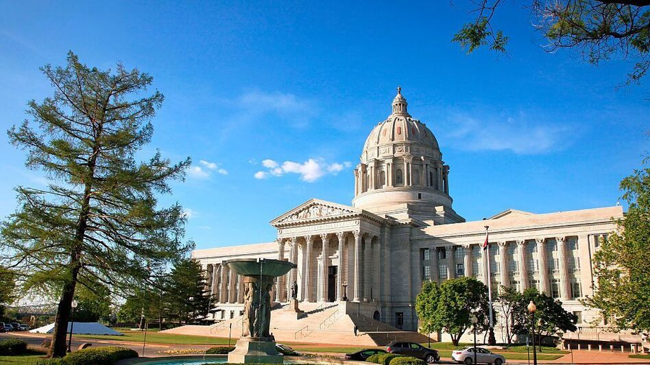 The state capitol building in Jefferson City, Missouri. Voters will vote on a ballot measure that would end the state's current practice of allowing unlimited campaign contributions and reimpose limits of $2,600 per candidate. (Education Images/UIG via Getty Images)