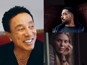 Smokey Robinson (left), Aesop Rock | credit Ben Colen (top right), Joni Mitchell | credit Henry Diltz (bottom right)