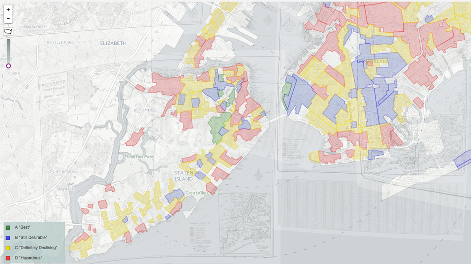 """Overlapping maps of the five boroughs of New York were combined in """"Mapping Inequality,"""" to show redlining across the entire city. (Mapping Inequality/Screenshot by NPR)"""