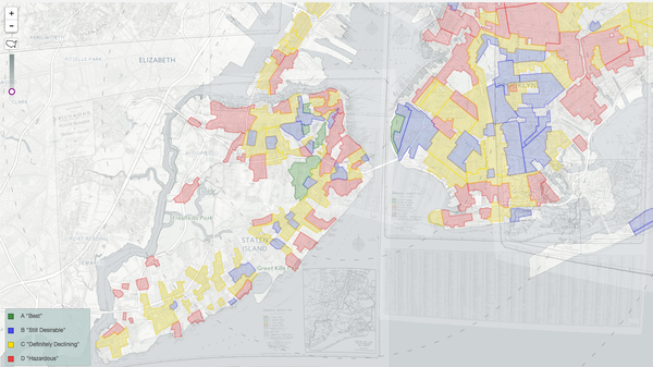 """Overlapping maps of the five boroughs of New York were combined in """"Mapping Inequality,"""" to show redlining across the entire city."""