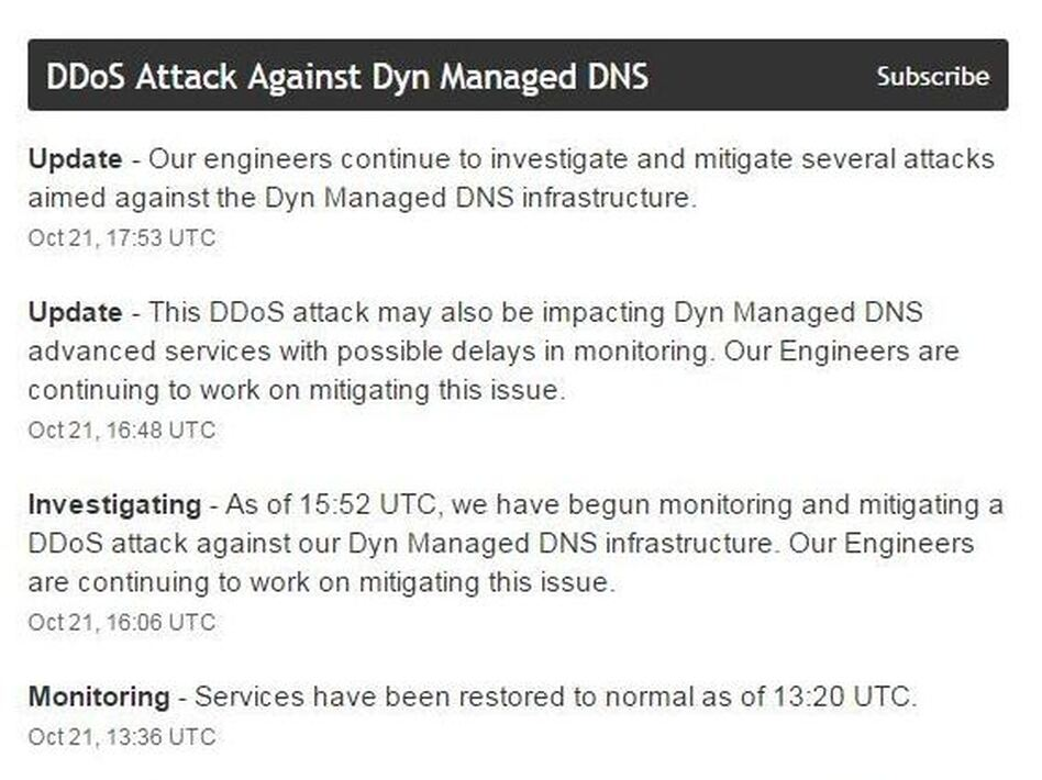 Dyn is a company that helps route Internet traffic and supports major websites and services. (Dyn/Screenshot by NPR)
