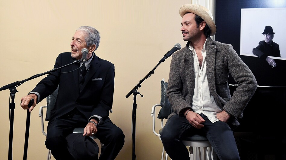 Leonard Cohen (left) and Adam Cohen speak at an event for the release of You Want It Darker. (Courtesy of the artist)
