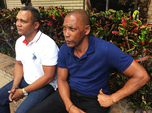 Cuban migrants Arnalbis Rogel (left) and Modesto Morales arrived on a boat in Florida on Sept. 7. Morales was the navigator.