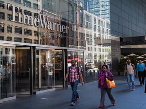 Time Warner is reportedly heading for another merger — this time with AT&T, in a deal that's expected to be announced Saturday. Here, the company's headquarters at New York City's Columbus Circle.