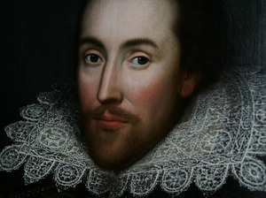 A detail of a portrait of William Shakespeare, presented by the Shakespeare Birthplace trust, as seen in March 2009.