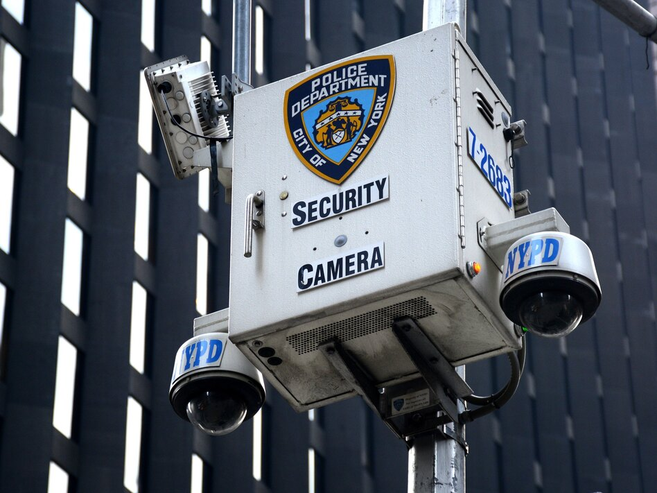 A New York Police Department security camera set up along a street in New York City on Aug. 26. (Robert Alexander/Getty Images)