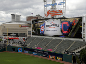 Progressive Field, home of the Cleveland Indians, is set up Game 1 of the World Series against the Chicago Cubs on Tuesday night.