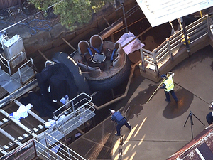 Queensland Emergency Services personnel are seen at the Thunder River Rapids ride at Dreamworld on the Gold Coast, Australia, on Tuesday. Four people died after a malfunction caused two people to be ejected from their raft, while two others were caught inside the ride at the popular theme park.