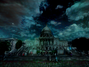 "An image of the U.S. capitol building distorted in what researchers from MIT call a ""toxic city"" style by an artificial intelligence algorithm."