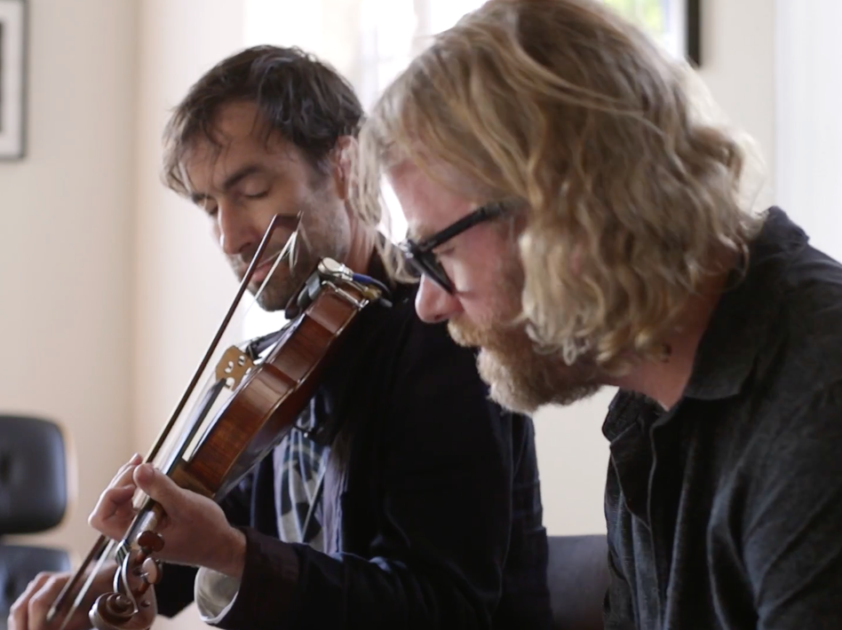 Andrew Bird and The National's Matt Berninger perform together in Bird's living room.